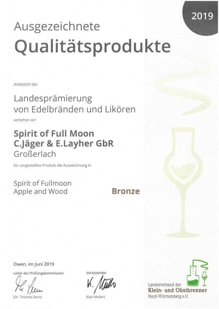 Spirit of FullMoon, Edgar Layher, Christoph Jäger, Chris & Eddy, Schnaps, Obstbrand, Spirituose, Whisky Apfelbrand Prämierung 2019