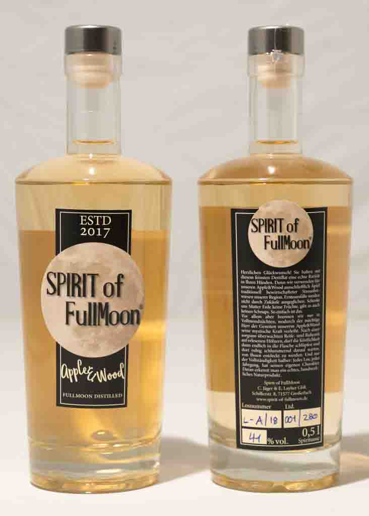 Spirit of FullMoon, Apple & Wood, Edgar Layher, Christoph Jäger, Chris & Eddy, Schnaps, Obstbrand, Spirituose, Whisky, Apfelbrand, Shop